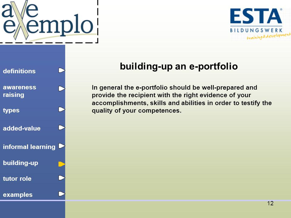 definitions types added-value tutor role building-up informal learning awareness raising examples 12 building-up an e-portfolio In general the e-portfolio should be well-prepared and provide the recipient with the right evidence of your accomplishments, skills and abilities in order to testify the quality of your competences.