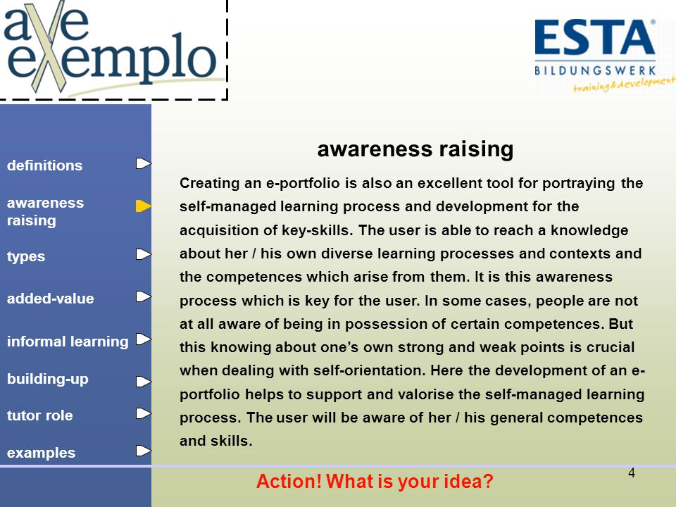 definitions types added-value tutor role building-up informal learning awareness raising examples 15 example: e-portfolio for young people www.volicity.org