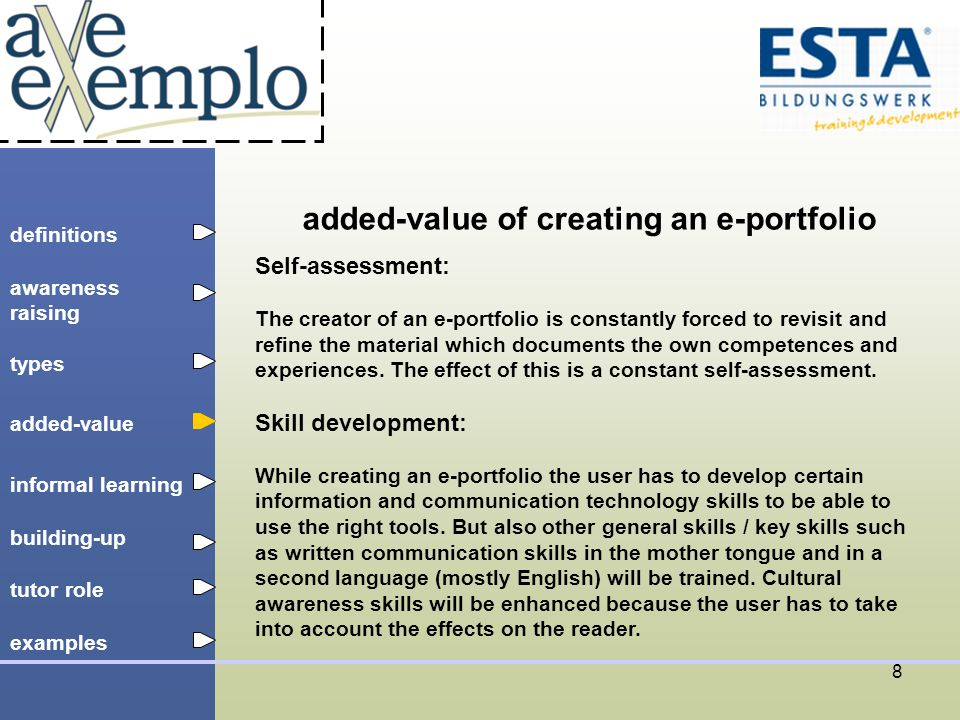 definitions types added-value tutor role building-up informal learning awareness raising examples 9 informal learning process The e-portfolio approach can be seen as a construction process: The individual is able to construct her / his own informal learning process by recording, interpreting and evaluating her / his own knowledge.