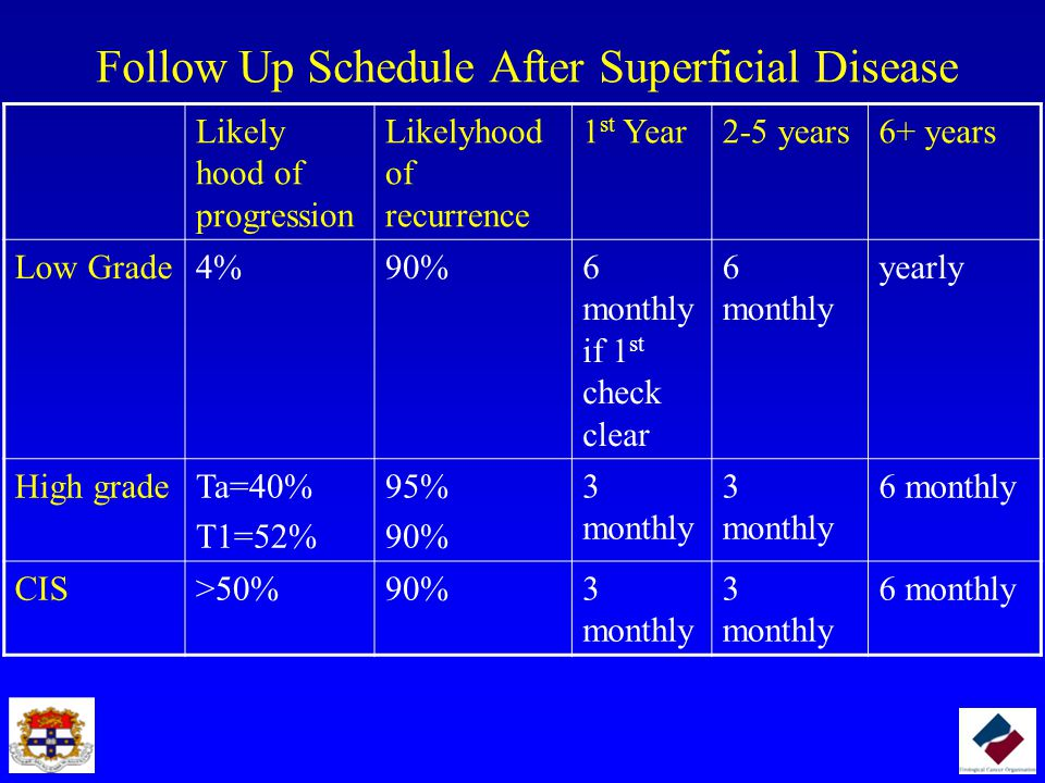 Follow Up Schedule After Superficial Disease Likely hood of progression Likelyhood of recurrence 1 st Year2-5 years6+ years Low Grade4%90%6 monthly if 1 st check clear 6 monthly yearly High gradeTa=40% T1=52% 95% 90% 3 monthly 6 monthly CIS>50%90%3 monthly 6 monthly