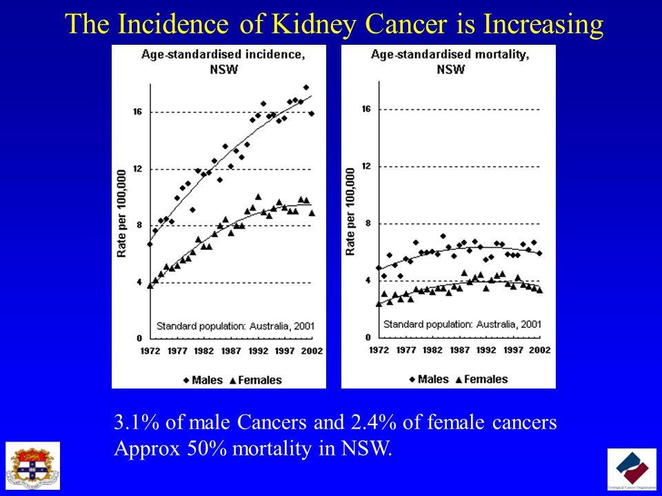 The Incidence of Kidney Cancer is Increasing 3.1% of male Cancers and 2.4% of female cancers Approx 50% mortality in NSW.