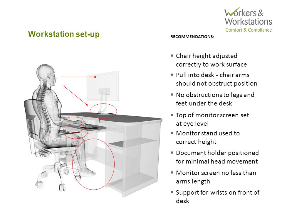 Suggested desk layout CONTINUED USE:  Keyboard  Mouse  Filing  Documents REGULAR USE:  Phone OCCASIONAL USE: monitor