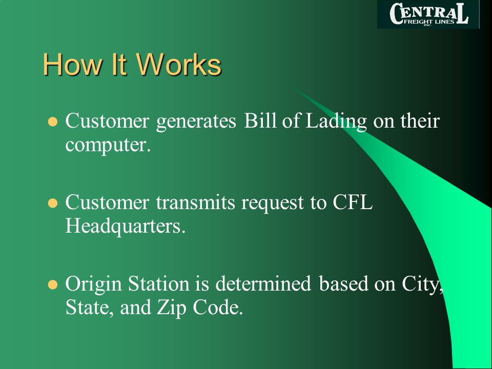 How It Works Customer generates Bill of Lading on their computer.