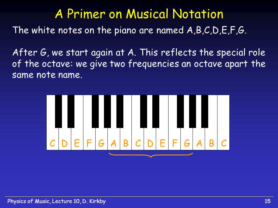 Physics of Music, Lecture 10, D.