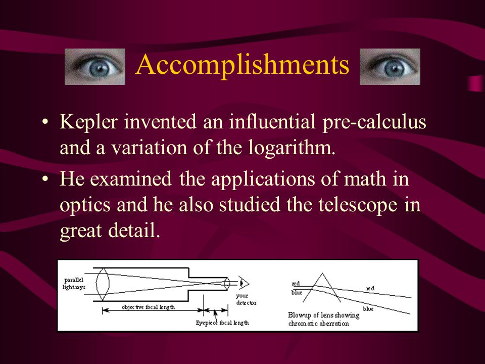 Accomplishments After Tycho Brahe's death, Kepler finished his planetary tables. Kepler was able to prove the heliocentric theory right and Tycho Brah