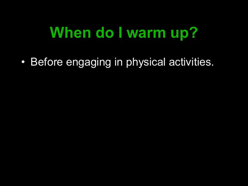 How do I warm up.By gradually increasing the intensity of your specific activity.