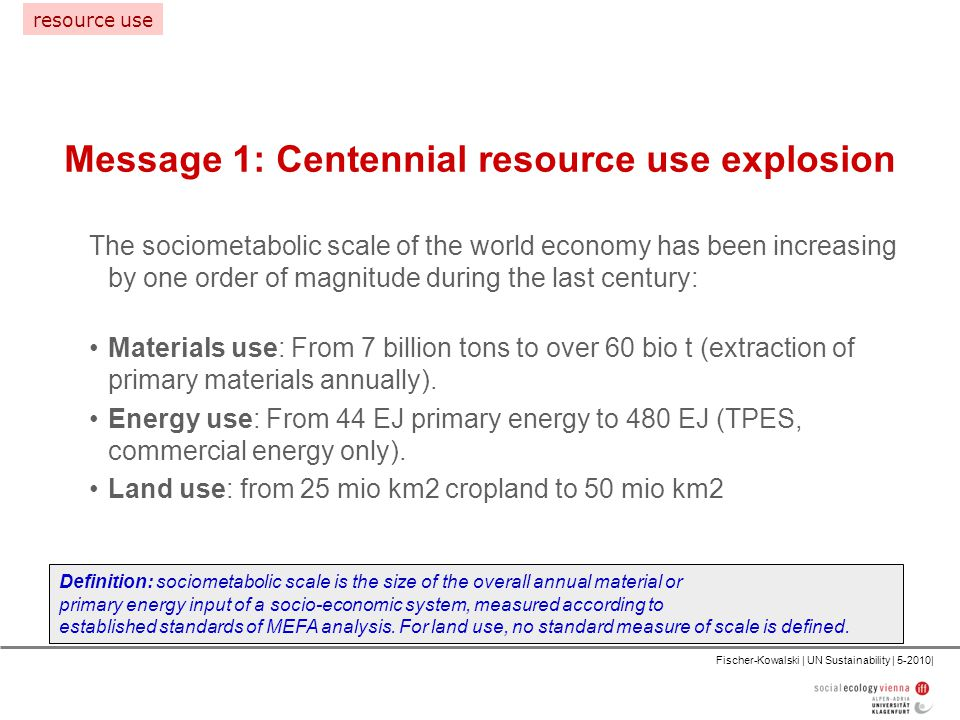 Fischer-Kowalski | UN Sustainability | 5-2010| Message 1: Centennial resource use explosion Definition: sociometabolic scale is the size of the overall annual material or primary energy input of a socio-economic system, measured according to established standards of MEFA analysis.
