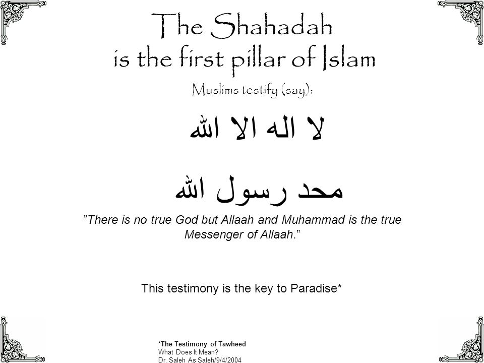 """The Shahadah is the first pillar of Islam لا اله الا الله محد رسول الله """"There is no true God but Allaah and Muhammad is the true Messenger of Allaah."""