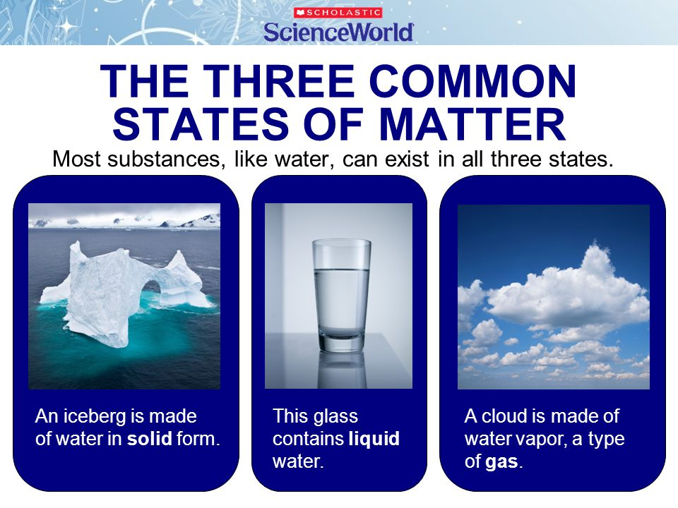 THE THREE COMMON STATES OF MATTER Most substances, like water, can exist in all three states. A cloud is made of water vapor, a type of gas. An iceber