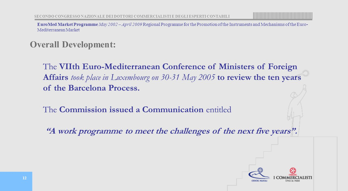 SECONDO CONGRESSO NAZIONALE DEI DOTTORI COMMERCIALISTI E DEGLI ESPERTI CONTABILI 12 The VIIth Euro-Mediterranean Conference of Ministers of Foreign Affairs took place in Luxembourg on 30-31 May 2005 to review the ten years of the Barcelona Process.