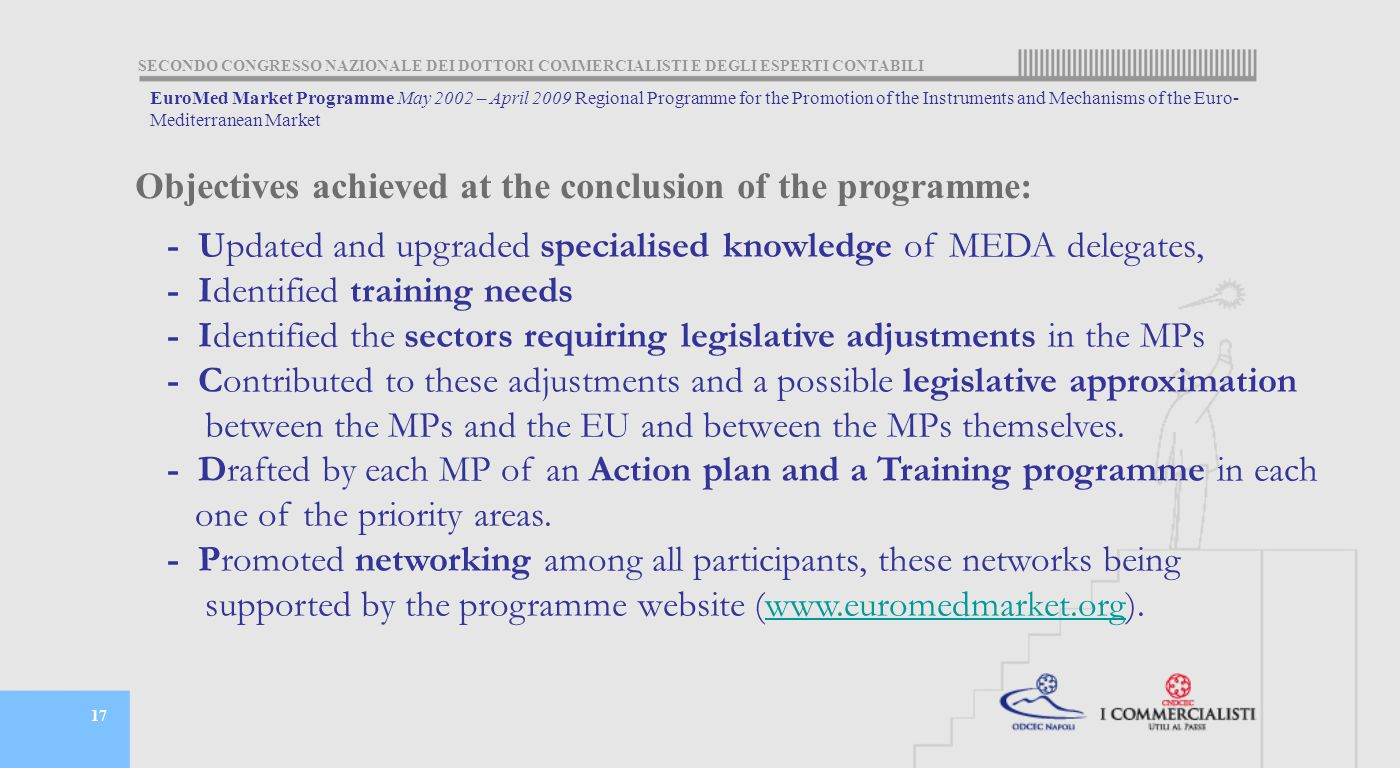 SECONDO CONGRESSO NAZIONALE DEI DOTTORI COMMERCIALISTI E DEGLI ESPERTI CONTABILI 17 - Updated and upgraded specialised knowledge of MEDA delegates, - Identified training needs - Identified the sectors requiring legislative adjustments in the MPs - Contributed to these adjustments and a possible legislative approximation between the MPs and the EU and between the MPs themselves.