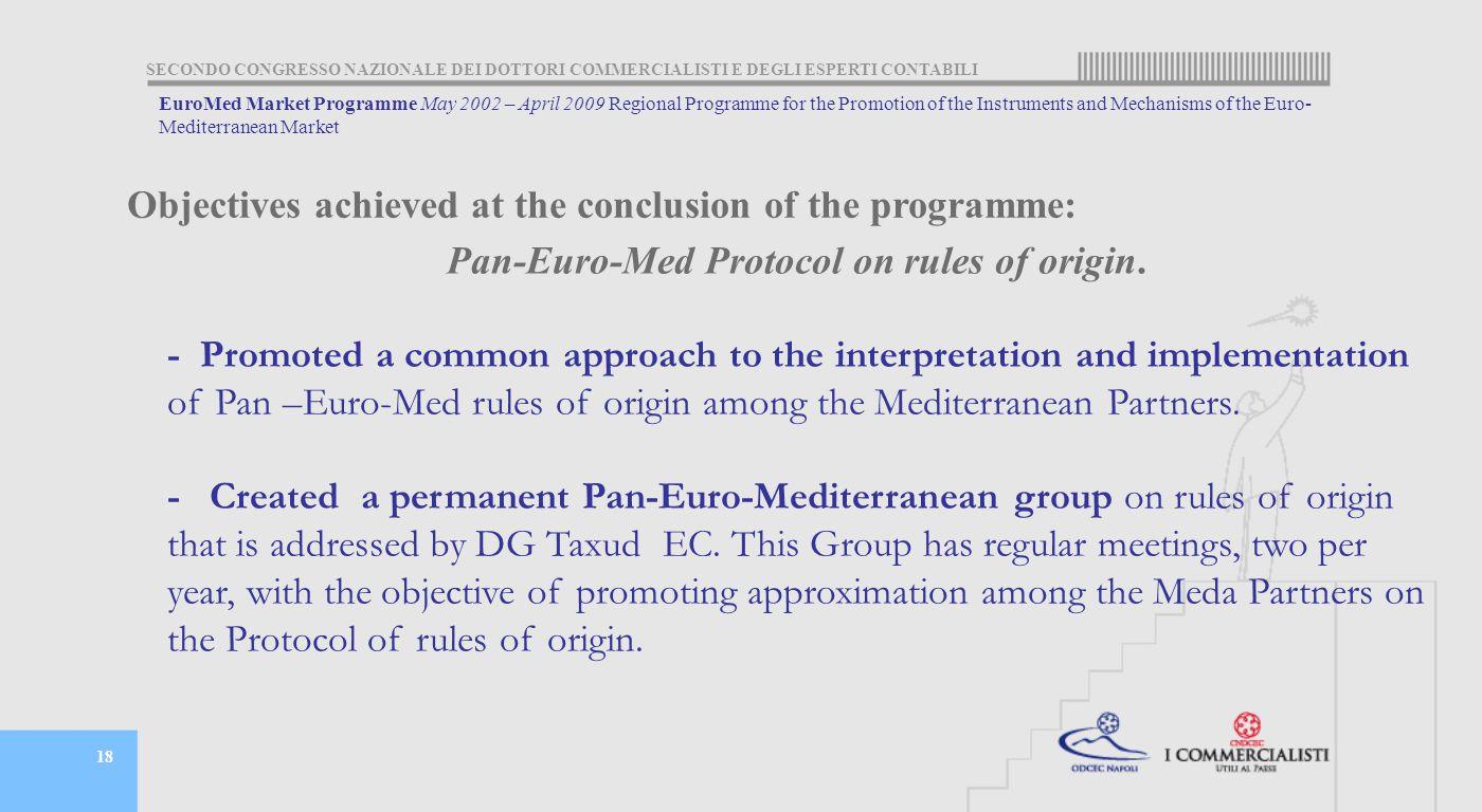 SECONDO CONGRESSO NAZIONALE DEI DOTTORI COMMERCIALISTI E DEGLI ESPERTI CONTABILI 18 Pan-Euro-Med Protocol on rules of origin.