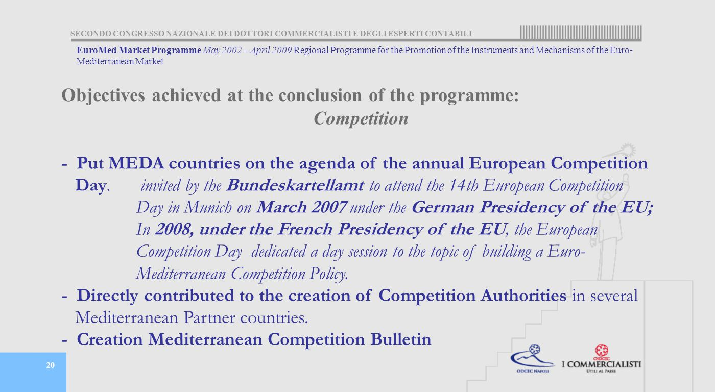 SECONDO CONGRESSO NAZIONALE DEI DOTTORI COMMERCIALISTI E DEGLI ESPERTI CONTABILI 20 Competition - Put MEDA countries on the agenda of the annual European Competition Day.