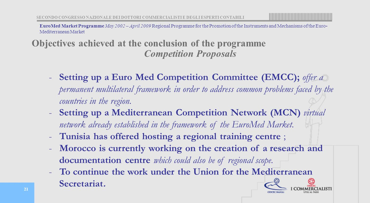 SECONDO CONGRESSO NAZIONALE DEI DOTTORI COMMERCIALISTI E DEGLI ESPERTI CONTABILI 21 Competition Proposals -Setting up a Euro Med Competition Committee (EMCC); offer a permanent multilateral framework in order to address common problems faced by the countries in the region.