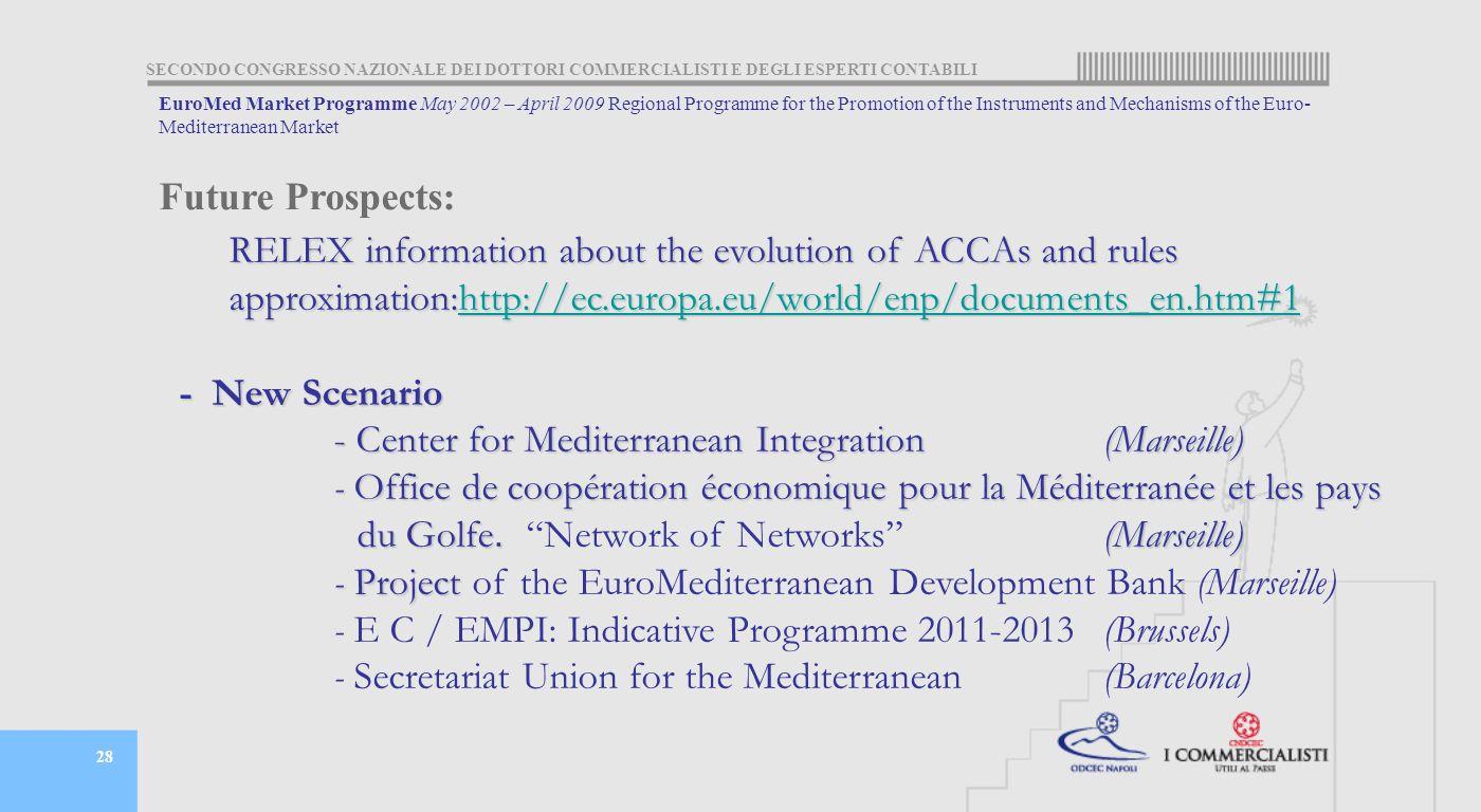SECONDO CONGRESSO NAZIONALE DEI DOTTORI COMMERCIALISTI E DEGLI ESPERTI CONTABILI 28 Future Prospects: RELEX information about the evolution of ACCAs and rules RELEX information about the evolution of ACCAs and rules approximation:http://ec.europa.eu/world/enp/documents_en.htm#1 approximation:http://ec.europa.eu/world/enp/documents_en.htm#1http://ec.europa.eu/world/enp/documents_en.htm#1 - New Scenario - Center for Mediterranean Integration (Marseille) - Office de coopération économique pour la Méditerranée et les pays du Golfe.