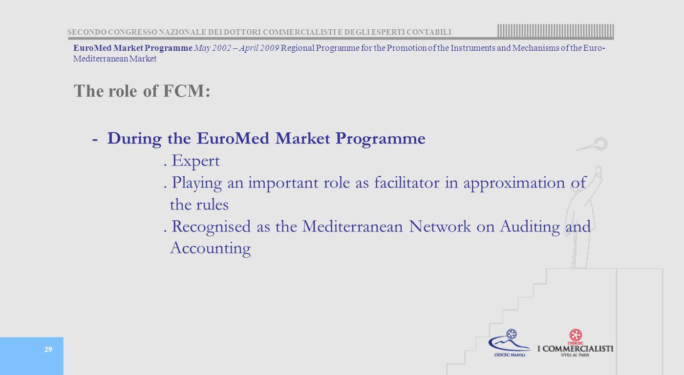SECONDO CONGRESSO NAZIONALE DEI DOTTORI COMMERCIALISTI E DEGLI ESPERTI CONTABILI 29 - During the EuroMed Market Programme.