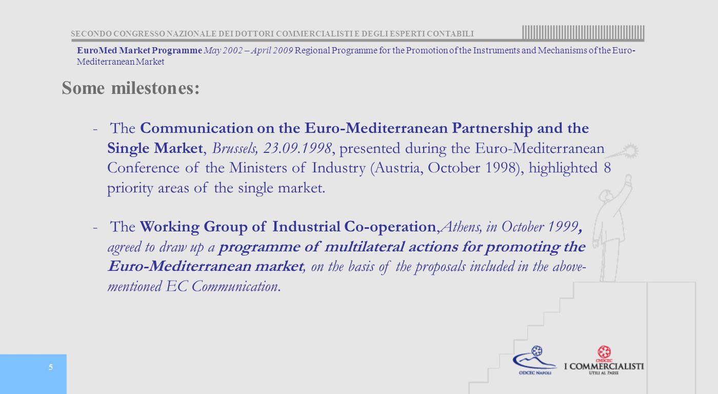 SECONDO CONGRESSO NAZIONALE DEI DOTTORI COMMERCIALISTI E DEGLI ESPERTI CONTABILI 5 EuroMed Market Programme May 2002 – April 2009 Regional Programme for the Promotion of the Instruments and Mechanisms of the Euro- Mediterranean Market - The Communication on the Euro-Mediterranean Partnership and the Single Market, Brussels, 23.09.1998, presented during the Euro-Mediterranean Conference of the Ministers of Industry (Austria, October 1998), highlighted 8 priority areas of the single market.