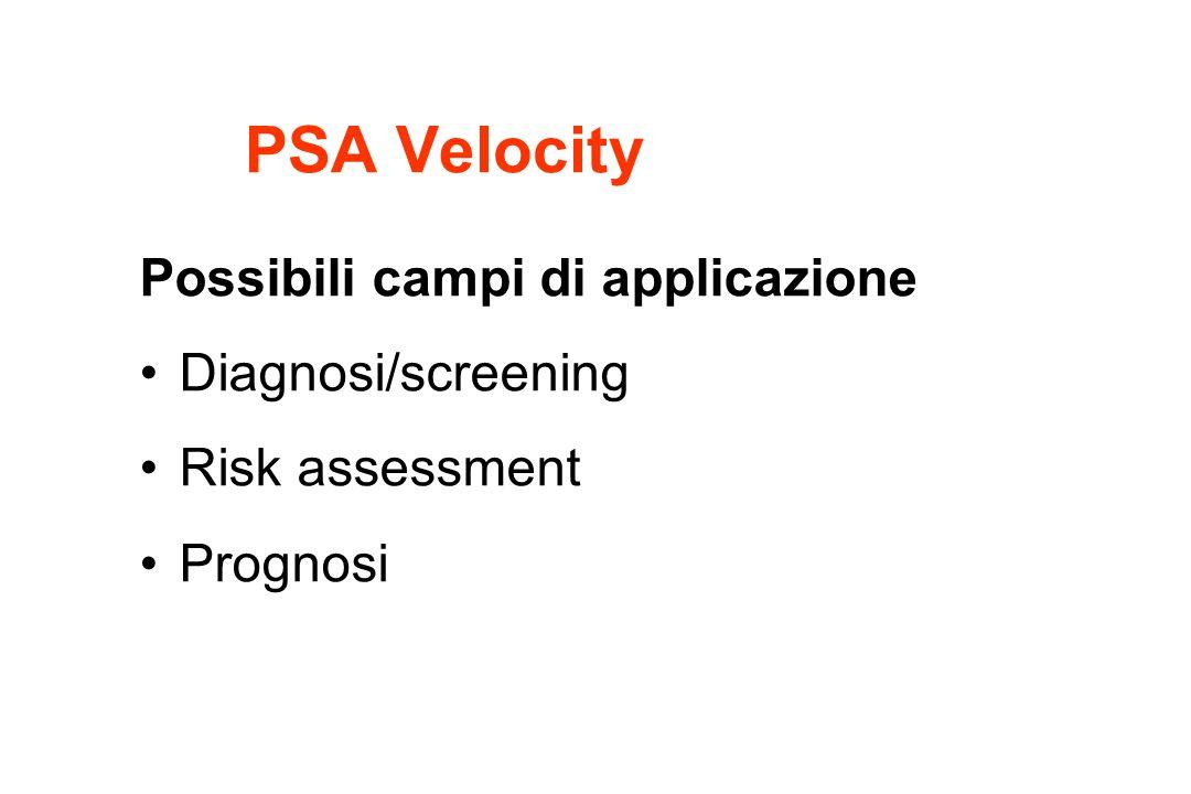 Possibili campi di applicazione Diagnosi/screening Risk assessment Prognosi PSA Velocity