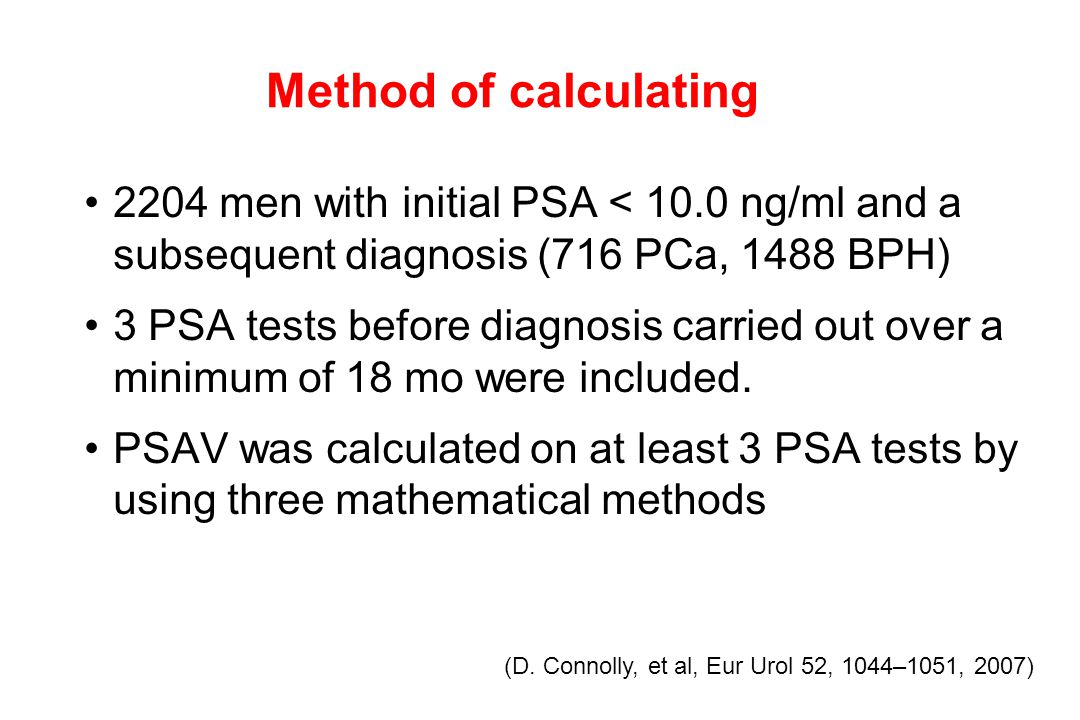 2204 men with initial PSA < 10.0 ng/ml and a subsequent diagnosis (716 PCa, 1488 BPH) 3 PSA tests before diagnosis carried out over a minimum of 18 mo