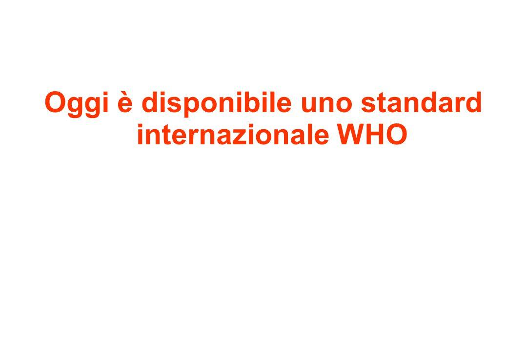 Oggi è disponibile uno standard internazionale WHO