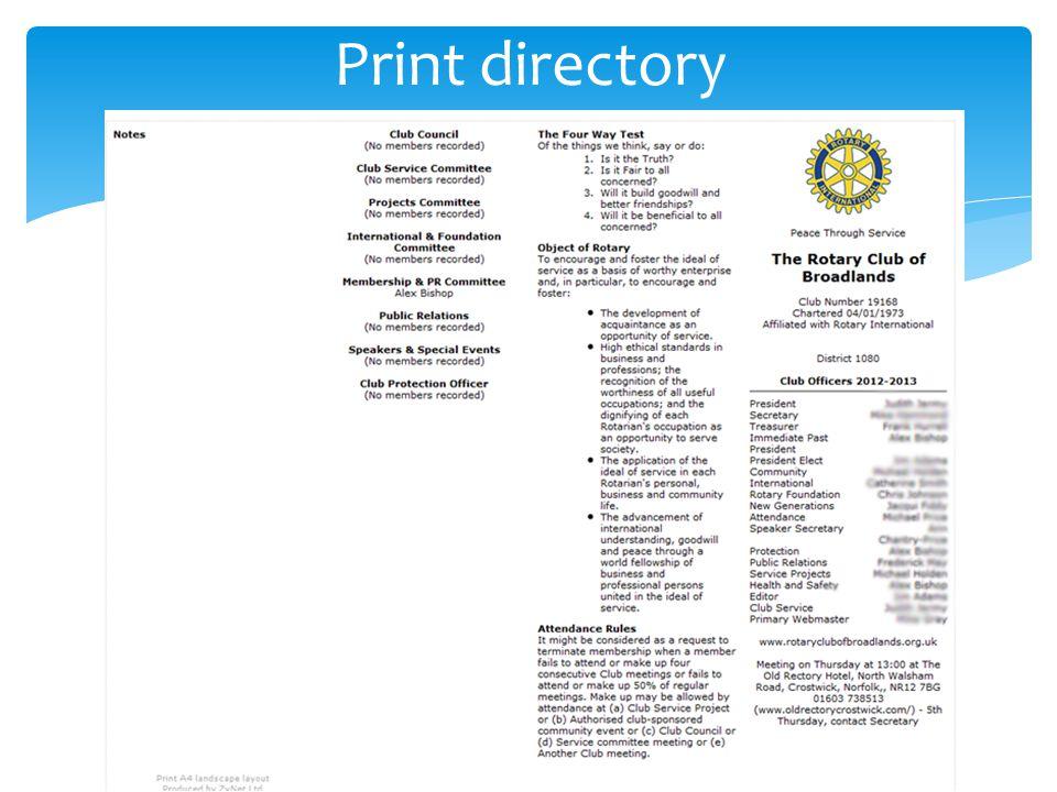 Print directory