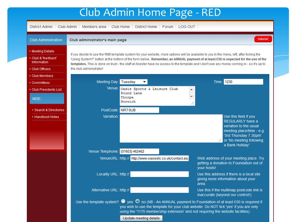 Club Admin Home Page - RED