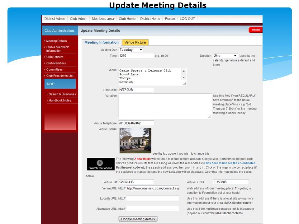 Update Meeting Details