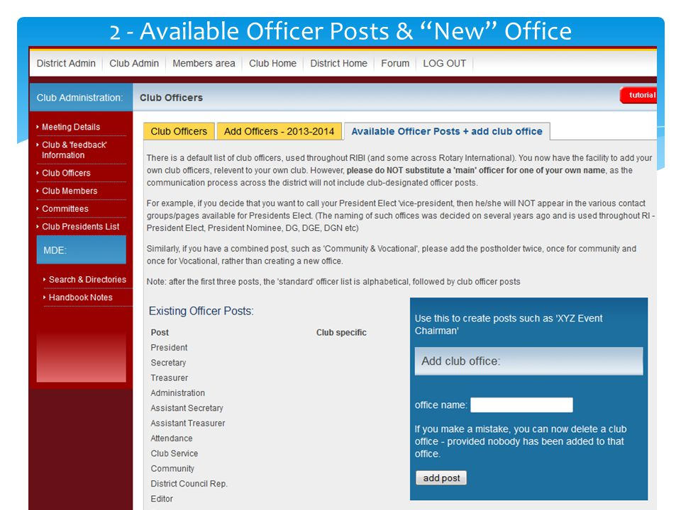 2 - Available Officer Posts & New Office