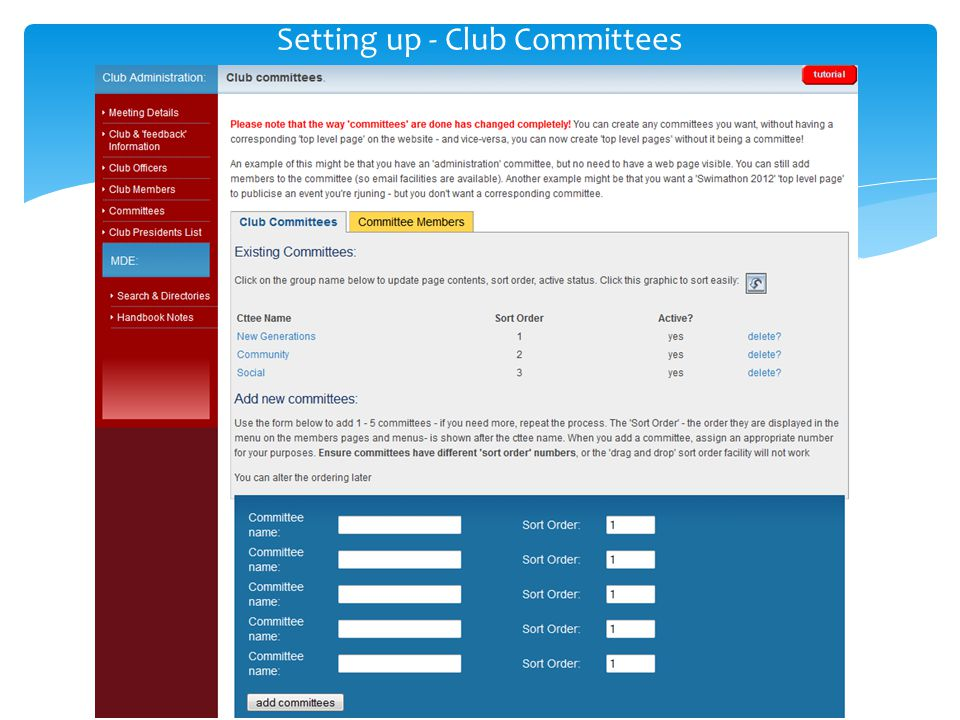 Setting up - Club Committees