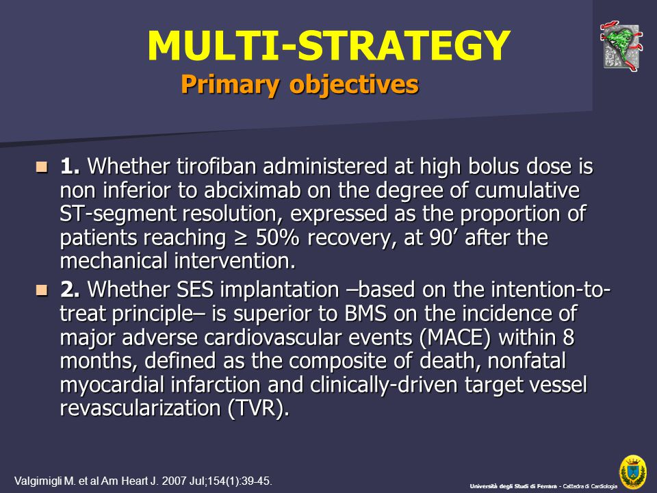 MULTI-STRATEGY 1. Whether tirofiban administered at high bolus dose is non inferior to abciximab on the degree of cumulative ST-segment resolution, ex