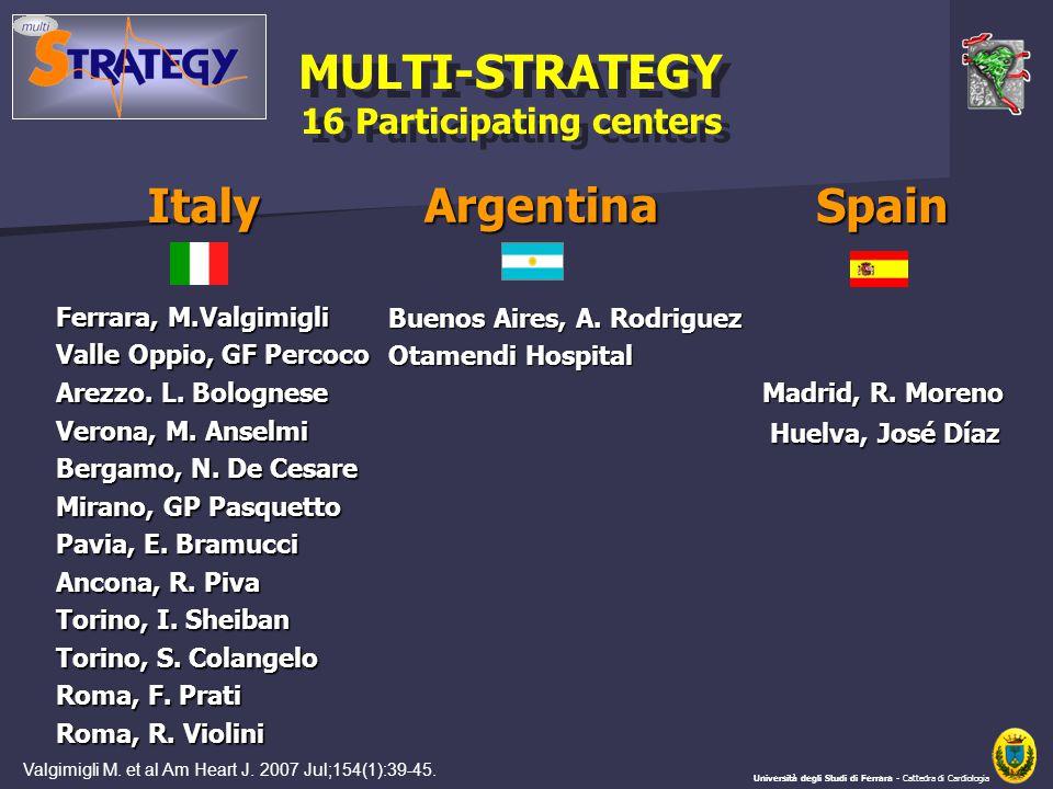 MULTI-STRATEGY 16 Participating centers MULTI-STRATEGY 16 Participating centers Università degli Studi di Ferrara - Cattedra di Cardiologia Ferrara, M.Valgimigli Valle Oppio, GF Percoco Arezzo.