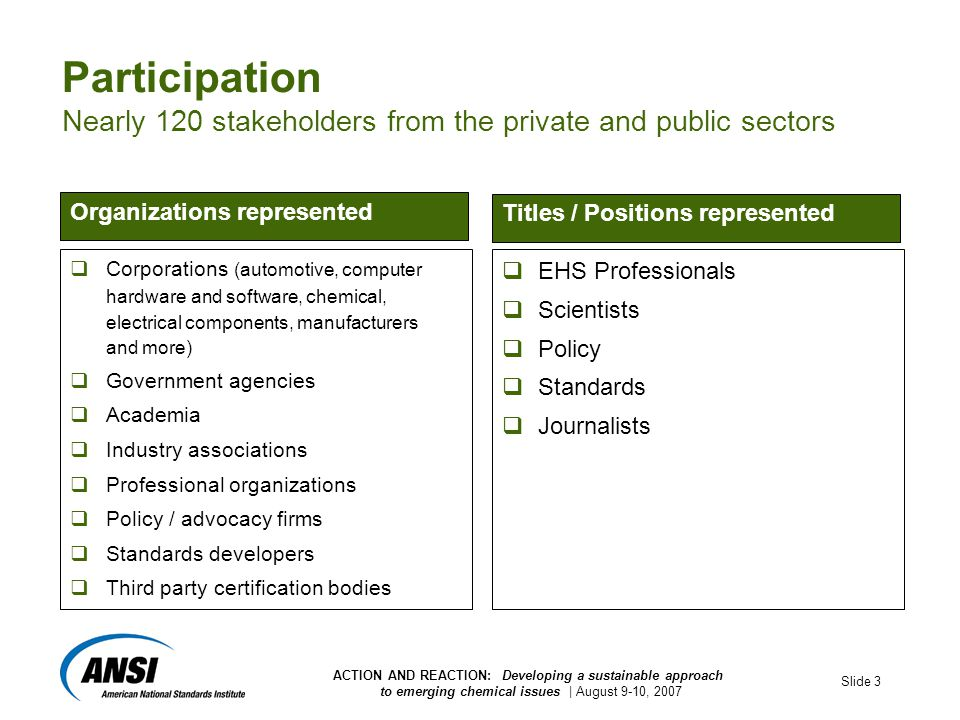 ACTION AND REACTION: Developing a sustainable approach to emerging chemical issues | August 9-10, 2007 Slide 3 Participation Nearly 120 stakeholders from the private and public sectors  Corporations (automotive, computer hardware and software, chemical, electrical components, manufacturers and more)  Government agencies  Academia  Industry associations  Professional organizations  Policy / advocacy firms  Standards developers  Third party certification bodies  EHS Professionals  Scientists  Policy  Standards  Journalists Organizations represented Titles / Positions represented