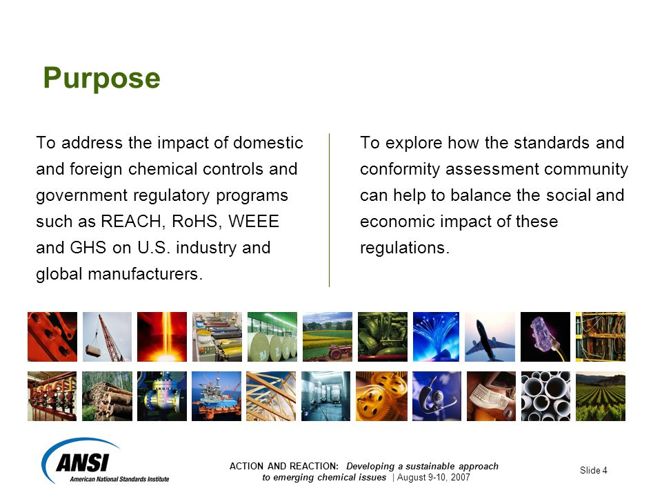 ACTION AND REACTION: Developing a sustainable approach to emerging chemical issues | August 9-10, 2007 Slide 4 Purpose To address the impact of domestic and foreign chemical controls and government regulatory programs such as REACH, RoHS, WEEE and GHS on U.S.