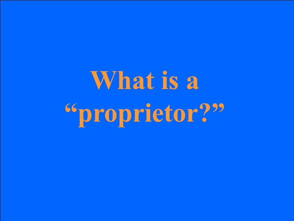 What is a proprietor?