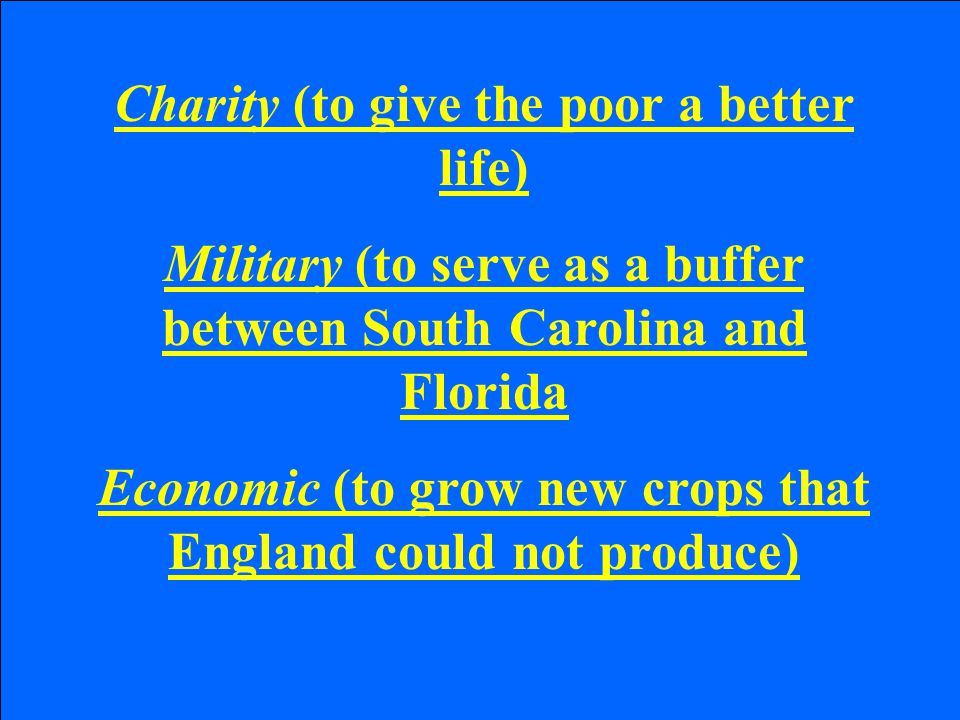 Charity (to give the poor a better life) Military (to serve as a buffer between South Carolina and Florida Economic (to grow new crops that England could not produce)