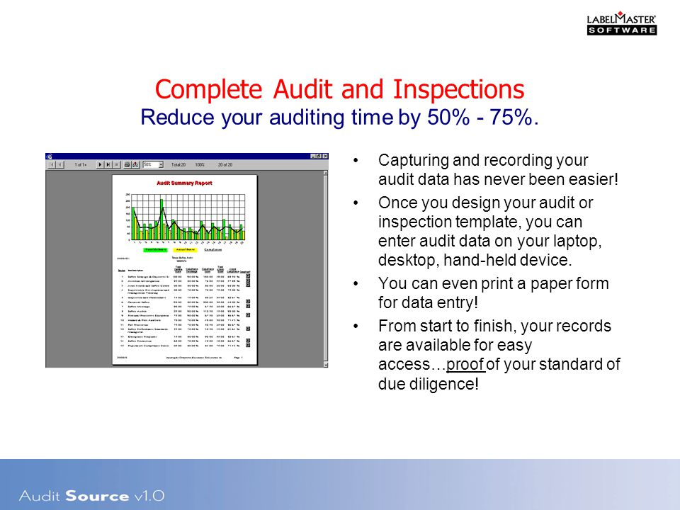 Complete Audit and Inspections Reduce your auditing time by 50% - 75%.