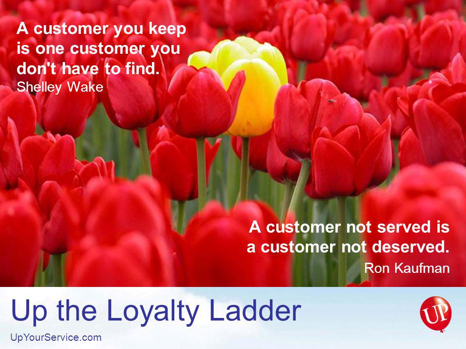 Up the Loyalty Ladder UpYourService.com A sale ends.