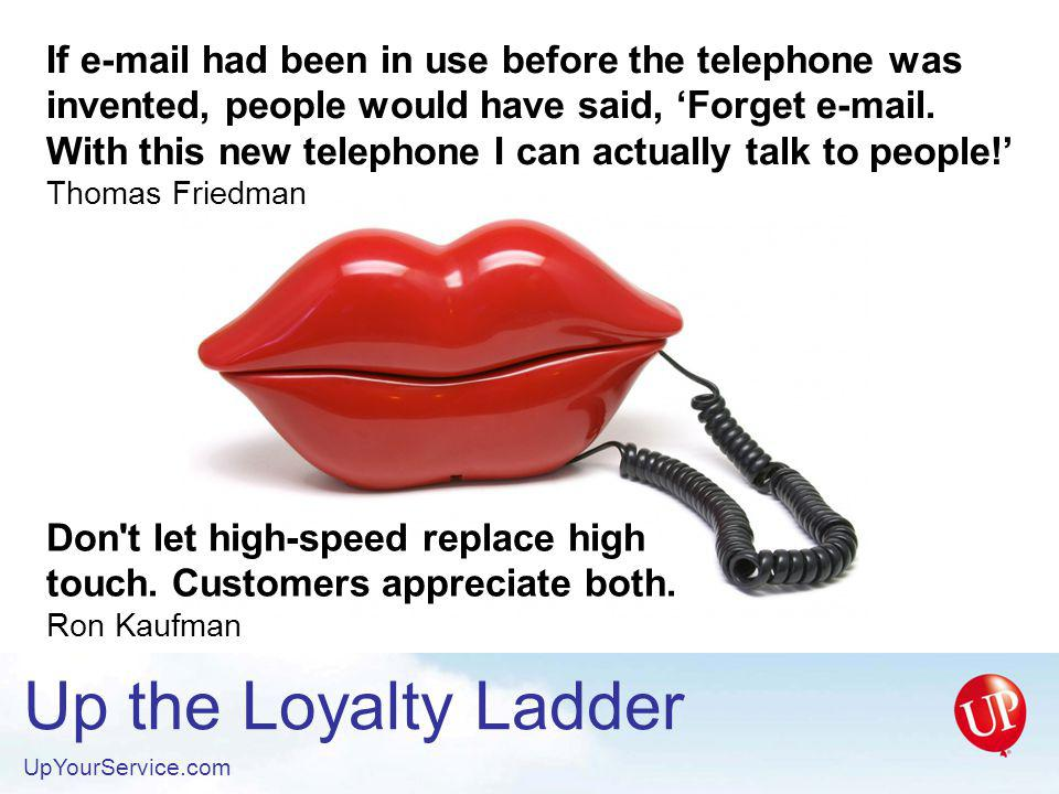 Up the Loyalty Ladder UpYourService.com The purpose of a business is to create and keep customers.