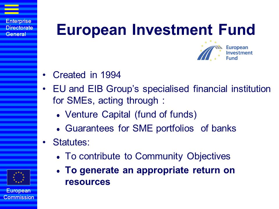Enterprise Directorate General European Commission Implementation Bank Venture capital Fund European Commission budget SMEs Invests Lends Provides funds Guarantee Society Co-Guarantees