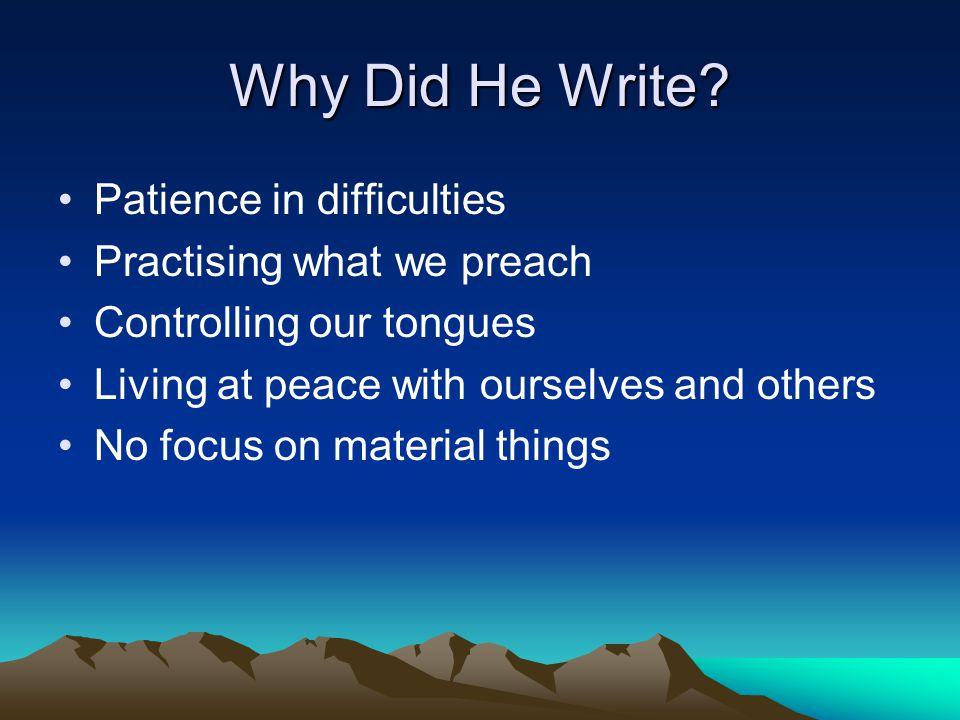 Why Did He Write.