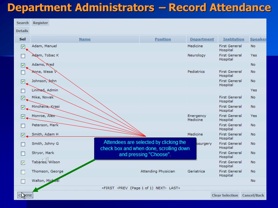 Department Administrators – Record Attendance