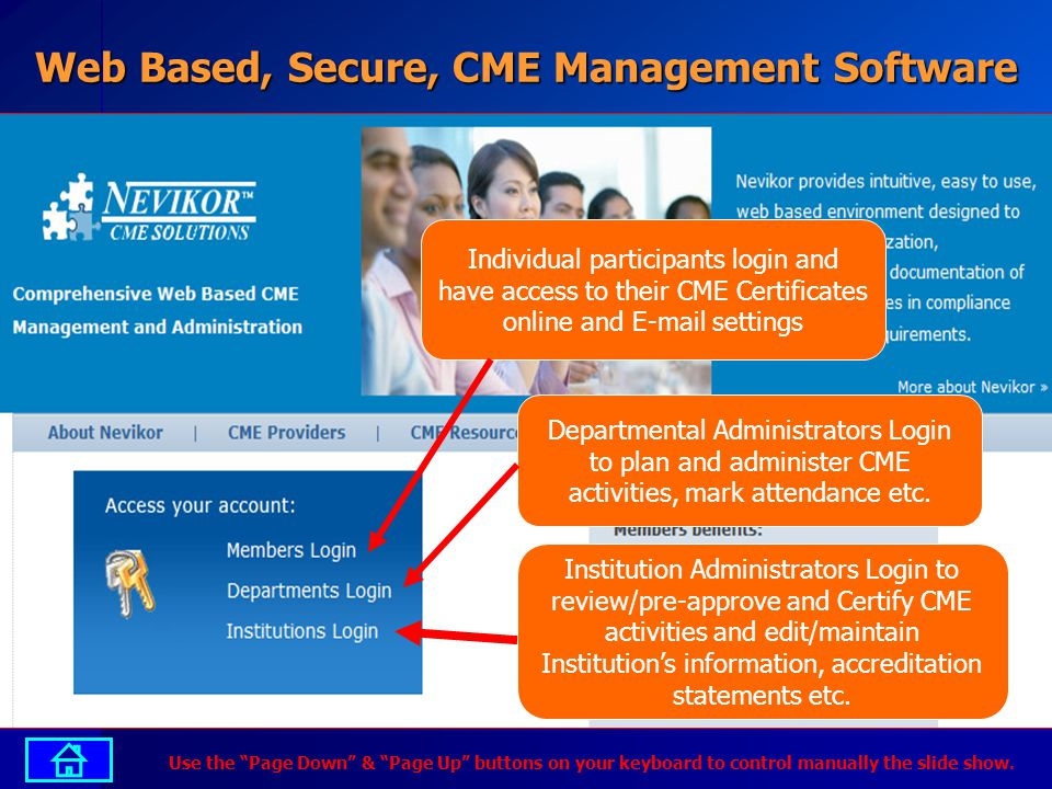 Web Based, Secure, CME Management Software Individual participants login and have access to their CME Certificates online and E-mail settings Departmental Administrators Login to plan and administer CME activities, mark attendance etc.