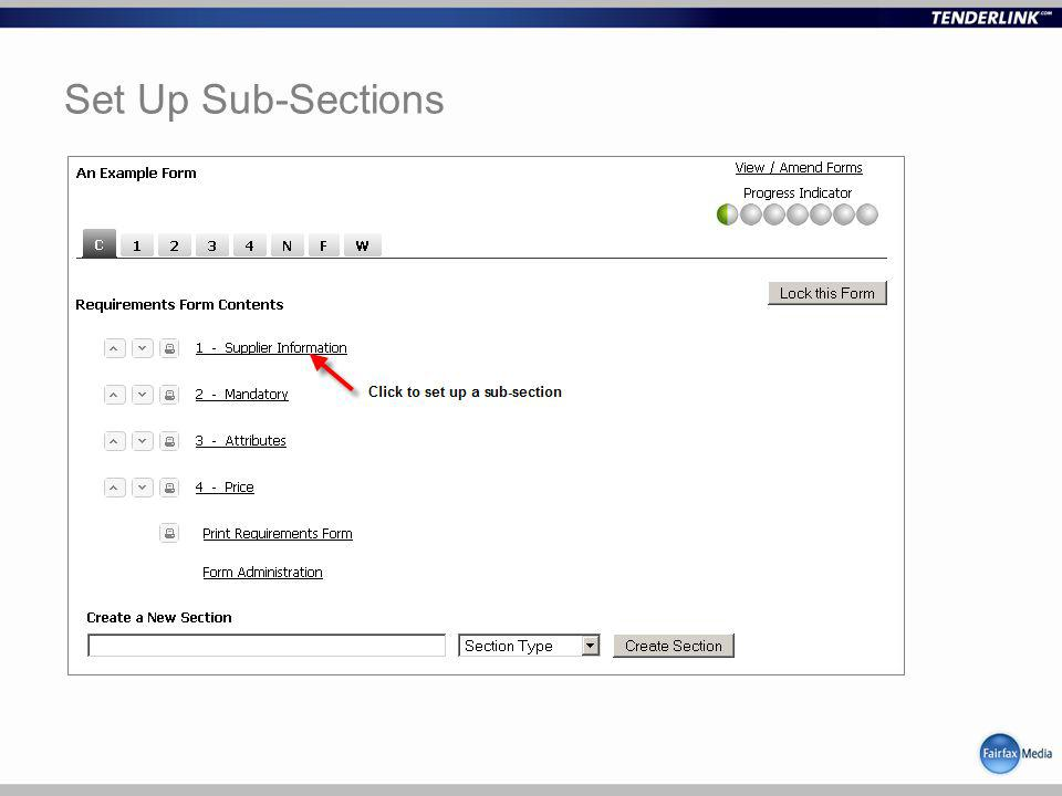 Set Up Sub-Sections