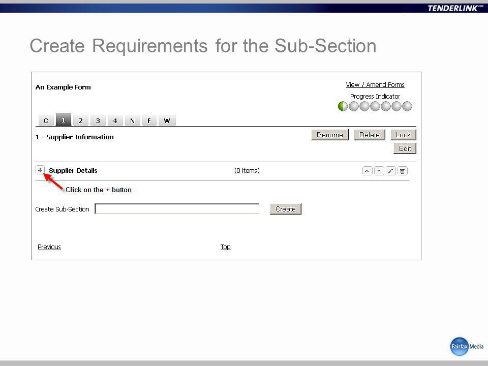 Create Requirements for the Sub-Section