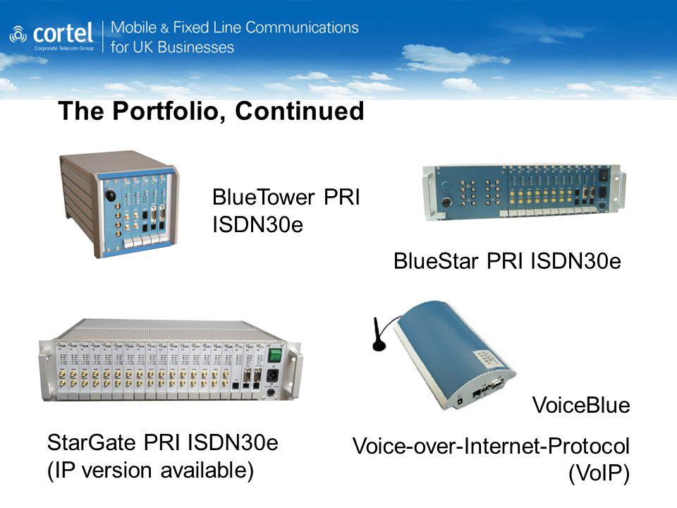 The Portfolio, Continued VoiceBlue Voice-over-Internet-Protocol (VoIP) BlueStar PRI ISDN30e StarGate PRI ISDN30e (IP version available) BlueTower PRI ISDN30e