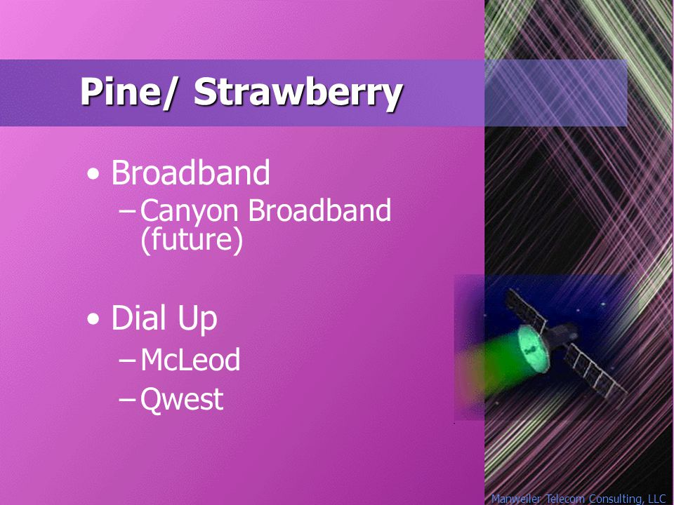Manweiler Telecom Consulting, LLC Pine/ Strawberry Broadband –Canyon Broadband (future) Dial Up –McLeod –Qwest