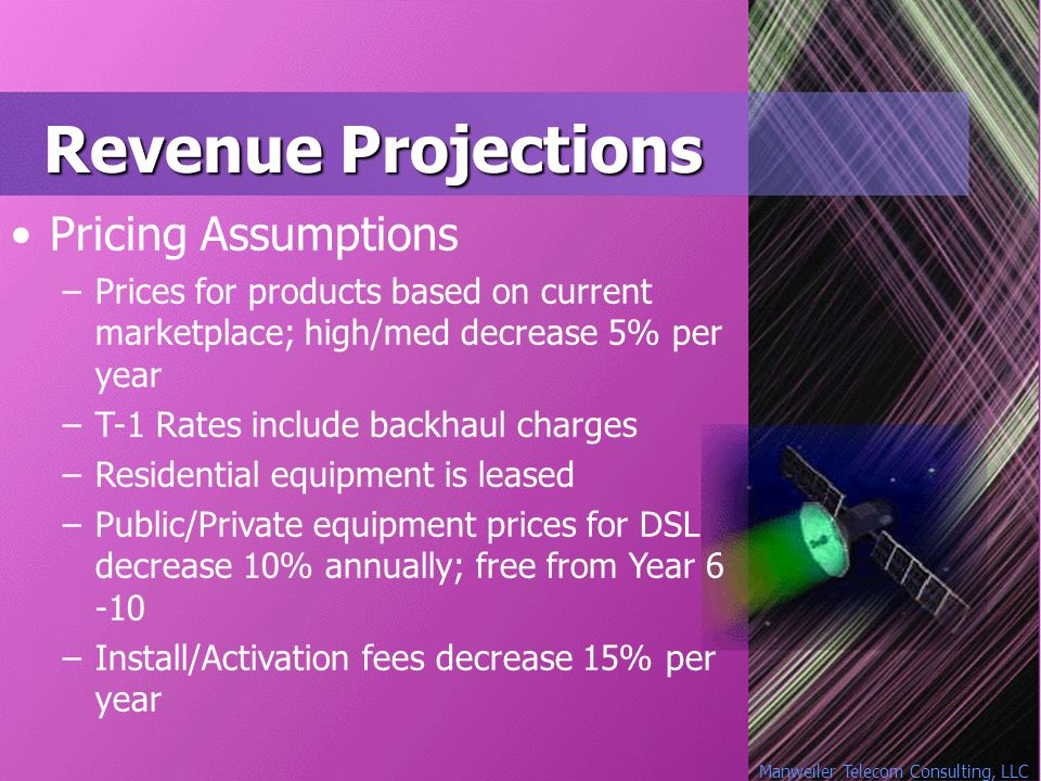 Manweiler Telecom Consulting, LLC Revenue Projections Pricing Assumptions –Prices for products based on current marketplace; high/med decrease 5% per year –T-1 Rates include backhaul charges –Residential equipment is leased –Public/Private equipment prices for DSL decrease 10% annually; free from Year 6 -10 –Install/Activation fees decrease 15% per year