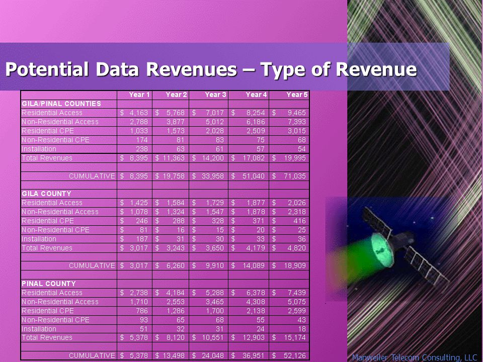Manweiler Telecom Consulting, LLC Potential Data Revenues – Type of Revenue