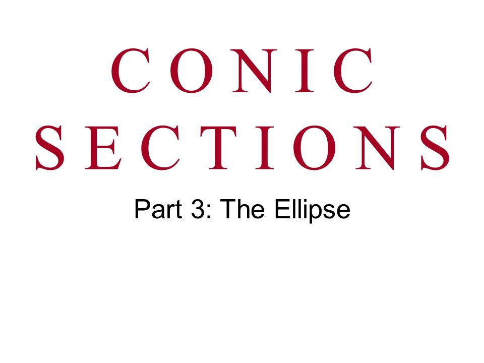 C O N I C S E C T I O N S Part 3: The Ellipse