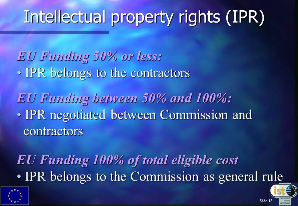 Slide 17 Funding Models Full Cost Reasonable flat rate overhead: 50% Funding On request for all organisations Actual overhead: 50% Funding If analytical accounting enables actual overhead calculation Additional Cost Additional Cost 20% flat rate overhead: 100% Funding 20% flat rate overhead: 100% Funding If no adequate analytical accounting (EC view) and no request for full cost and flat rate overhead ( in R&D and demo) If no adequate analytical accounting (EC view) and no request for full cost and flat rate overhead ( in R&D and demo) In concerted actions, thematic networks, etc.